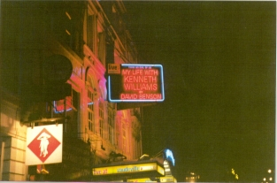 My name in lights in the West End! Vaudeville Theatre 1998 (photo Katie Leahy)